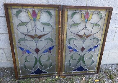 Victorian Pair Of Stained Glass Windows