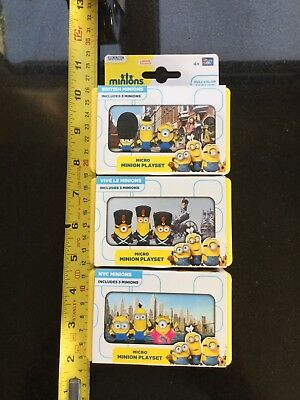 Micro Minion Play set Joblot Of 3 NYC VIVE LE MINIONS BRITISH CHEAP LOT NEW