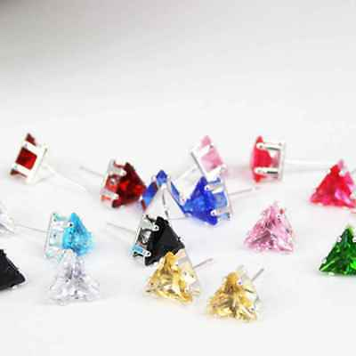 1Pair Crystal Triangular Earrings Women Zircon Stud Earrings Girls Punk Earrings