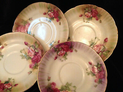 Vintage Ucagco Saucer Scalloped Hand Painted China Pink & Red Roses Gilded