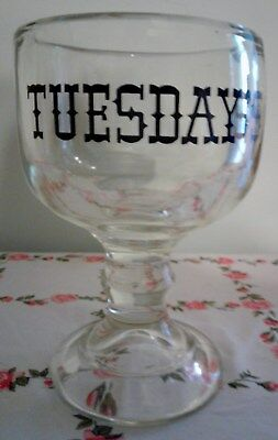 Vintage Mid Century Ruby Tuesday's Restaurant Thick Glass Goblet Stein Rare HTF!