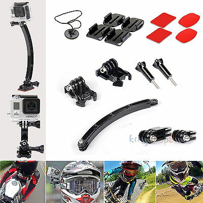 Arm Curved Flat Adhesive Helmet Mount Kit Set Accessory for GoPro Hero 4/3+/3/2
