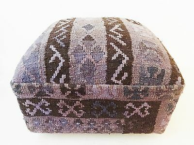"""Superb Turkish Kilim-Upholstered Ottoman /Footstool /Pouf 13"""" H by 17"""" W"""