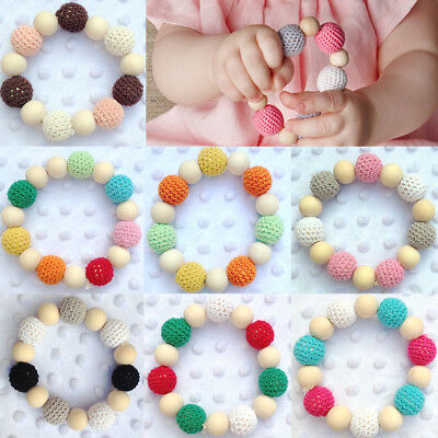 Round Wooden Teether Baby Toy Colorful New Teething Chewie Bead Newborn Bracelet