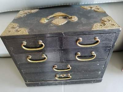 Antique Vintage Chinese Brass Wood Drawer Small Storage Box 11.75x6.5x10""