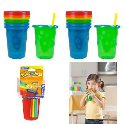 Spill Proof Straw Sippy Cups Snap On Lids Kids Toddler 10 oz Drink Mugs 4 Pack