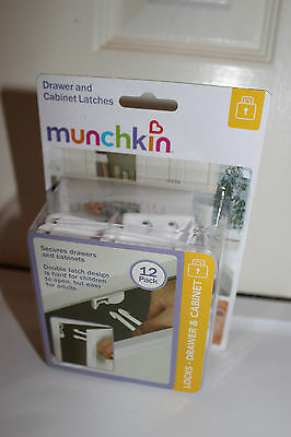 NEW MUNCHKIN DRAWER AND CABINET LATCHES LOCKS 12 PACK CHILD PROOF Safety