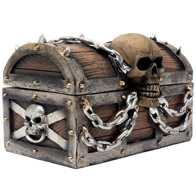 Pirate Treasure Chest Skull Trinket Box Jewelry Hidden Storage Secret Decor Gift