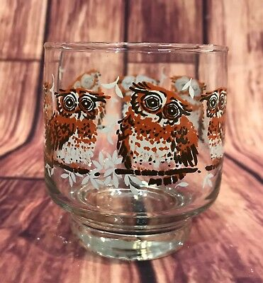 Libbey Vintage Hostess Glassware Wise Owl Glasses Small Set Of 8 374/31097