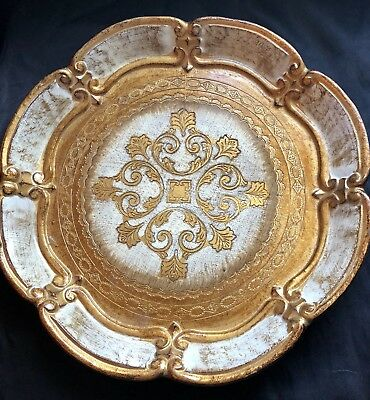 "Vintage~White & Gold ITALIAN FLORENTINE TOLE-PAINTED/HAND CARVED WOOD 12"" TRAY👀"