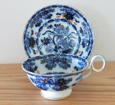 Antique Flow Blue Polychrome Cup and Saucer