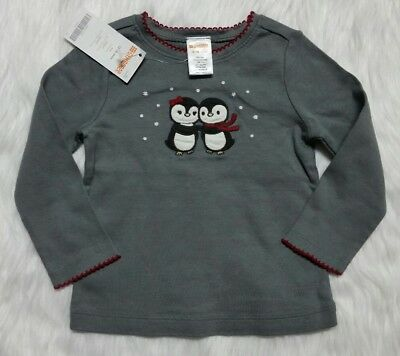 Gymboree Girls 12-18 Months PENGUIN CHALET Gray Long Sleeve Top Holiday Winter