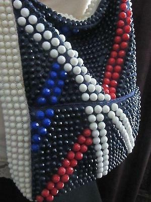 Vintage Hand Made Beaded Shopper Tote Hobo Bag Red White and Blue Hong Kong