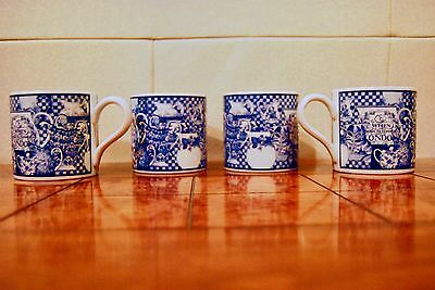 """4 x Wedgwood Home 1995 Blue Jug Collage """"When Man Is Tired of London"""" MUGS"""
