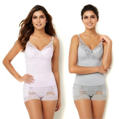 Rhonda Shear Womens Pin-Up Lace Camisole 2-pack Lilac/Light Gray 2X Size HSN $60