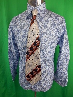 Vintage 60s 70s Blue Patterned Palray Dress Shirt New/Old Stock - Never Worn S