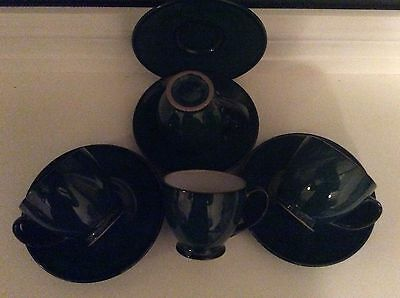 Denby Greenwich 4 Coffee/Espresso Cups and Saucers All Backstamped