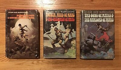 3 Edgar Rice Burroughs JOHN CARTER OF MARS Hardcovers! FRAZETTA covers and art
