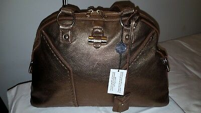 AUTH YVES SAINT Laurent YSL Large Muse Bronze Leather Shoulder Bag ... a7783576bb250