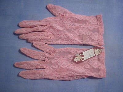 Vintage Aris Style 20007 Stretch Lace Gloves One Size in Pink