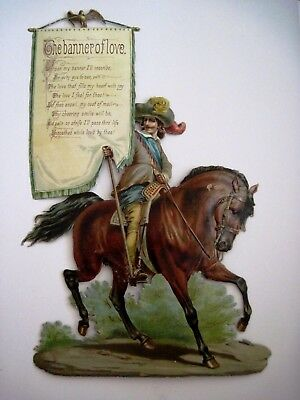 Large Beautiful Die Cut of Man On Horse Carrying A Love Banner  *