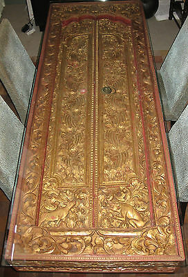 Vintage Balinese Temple Door/Table Converted as a Table Hand Carved High Relief
