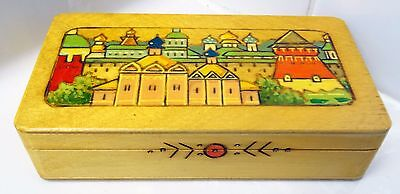Rare Russian Stamped Wooden Trinket Box With Carved & Painted Town Scene Cute!