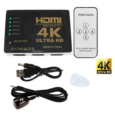 New Ultra HD 5 Port HDMI Switcher 4Kx2K 1080P 3D Switch Selector With IR Remote