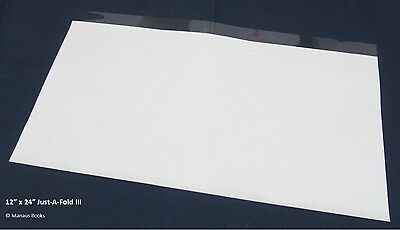 """10 pack 12""""x24"""" Brodart Just-a-Fold III Archival Book Jacket Covers super clear"""