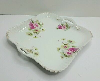 Bavaria Hand Painted Floral Square Two Handled Plate Serving  Plate