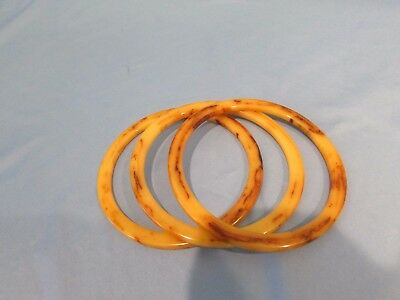 3 Vintage Bakelite Art Deco Marbled Stack Bracelet Bangles Tested!