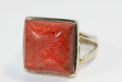 "D370 Coral Sterling 925 Ring 14.5 mm 3/4"" wide size 9"