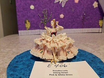 E406 Vintage Dresden Girl Figurine Pink Lace Dress White Ruffles Estate Sale