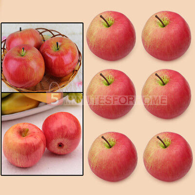 New 6 pcs Lifelike Decorative Artificial Fake Faux Red Apples Fruit Craft Hot