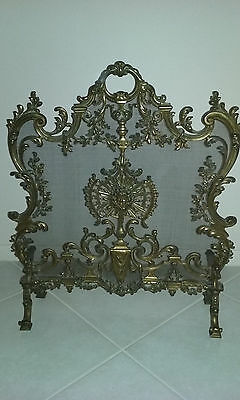 Antique Louis Xiv French Rococo Bronze Fireplace Screen  Exquisite 1800's Rare!