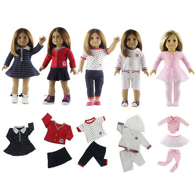 """5 Sets Girl Doll Baby Toys Clothes for 18"""" Girl Colorful Pattern Dress Outfits"""