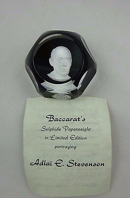 Baccarat Ltd. Edition Crystal Sulphide Paperweight ~ Adlai E. Stevenson ~ 1969 ~