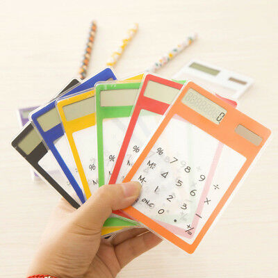 Ultra Slim Transparent Solar Powered Calculator Pocket 8 Digit LCD Touch Screen