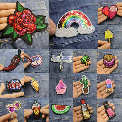 DIY Cute Sequins Embroidery Sew On Iron On Patch Badge Fabric Applique Craft New