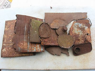 9 Pcs Vtg Very Rusty Iron Salvaged Metal Cans Craft Steel Indiana Barn Find
