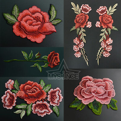Rose Flower Embroidered Applique Badge Floral Collar Sew On Patch Craft Transfer