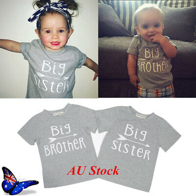 AU Cute Infant Kids Girls Boys T-shirt Top Little Sister Brother Romper Bodysuit