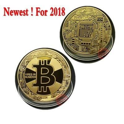 BITCOIN Gold Plated Physical Bitcoin Collectible in protective acrylic case Gift