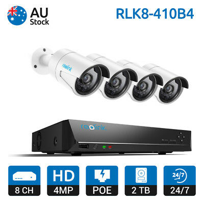 Reolink 8CH 8 Channel PoE NVR 4MP IP Camera Systems 2TB HDD CCTV Kits RLK8-410B4
