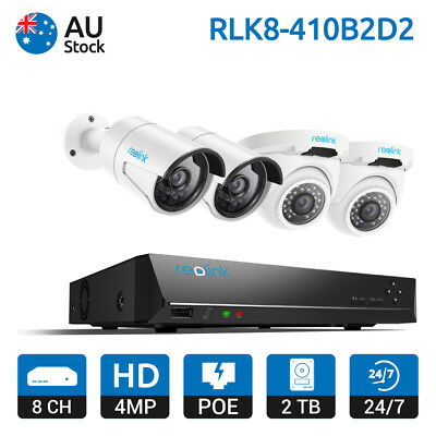 Reolink 8CH PoE NVR IP Camera System 4MP Video Kit Home Security RLK8-410B2D2