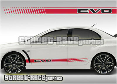 Mitsubishi side racing stripes 010 stickers decals graphics vinyl Evo Evolution