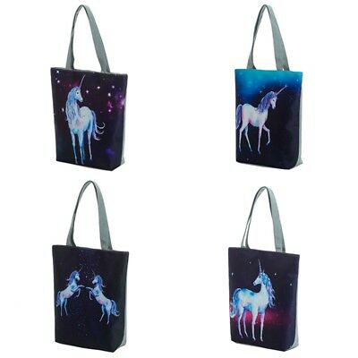 Women Unicorn Pattern Handbag Zipper Shopping Bag Tote Shoulder Beach Bag 1pc