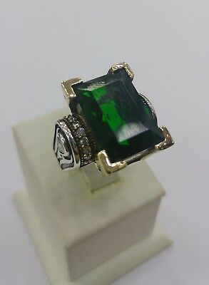 925 Sterling Silver Handmade  Jewelry Zambia Emerald  Ladie's Ring