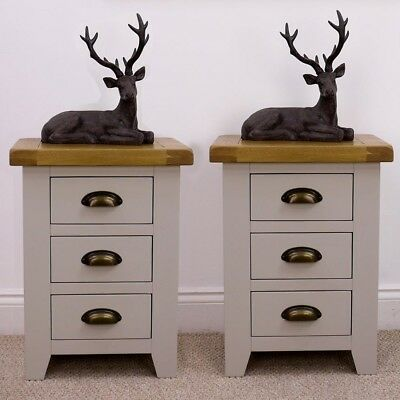 Pair Of Arklow Painted Oak Bedside Tables Small Bedroom