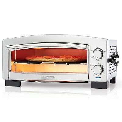 Commercial Pizza Oven Electric Kitchen Countertop Stainless Steel Bake Food Deck